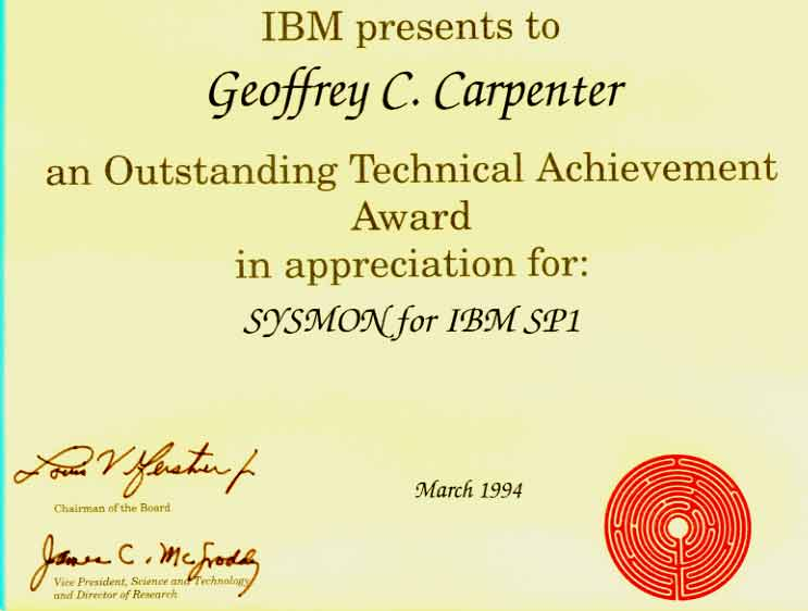 Outstanding Technical Achievement Award for SYSMON for IBM SP1