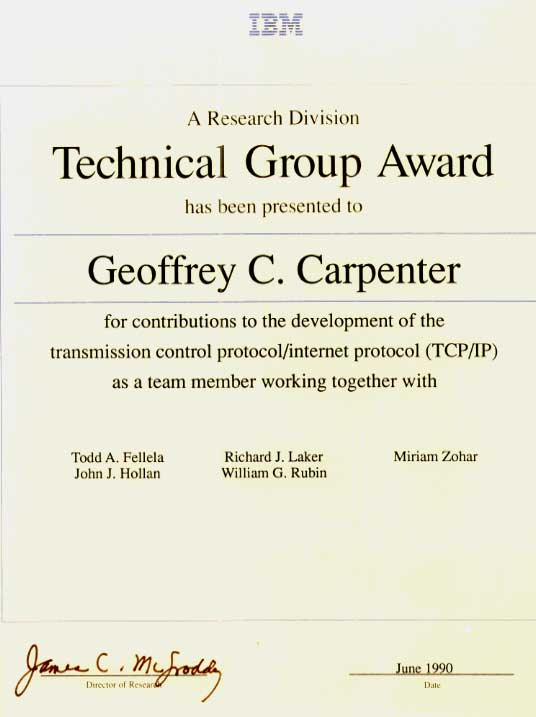 Technical Group Award for contributions to the development of TCP/IP